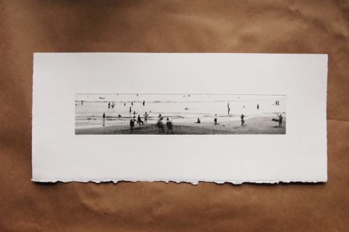 "Human Tides, Etching, printed the day after the Tsunami hit Japan last March, 6""x20"", $200"