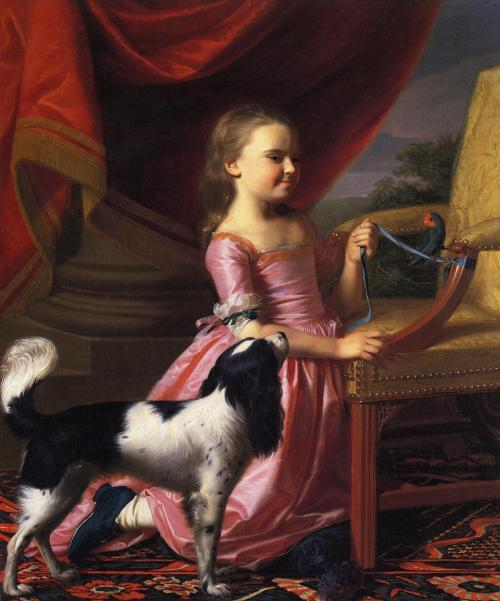 "John Singleton Copley ""Young Lady with a Bird and Dog"" 1767"