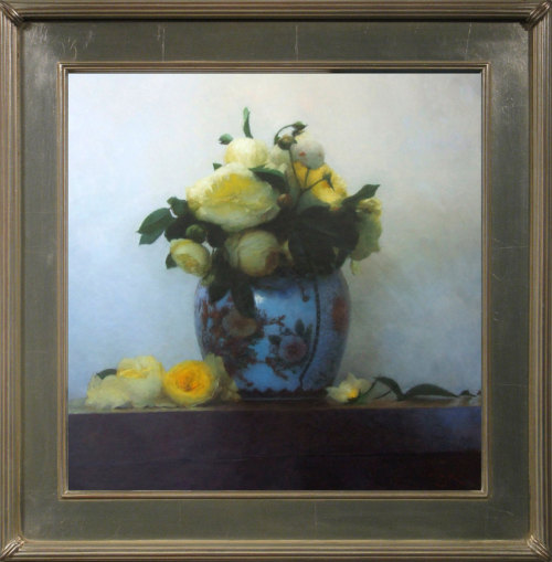 "Paul Raymond Seaton, ""Yellow Roses in a Chinese Vase,"" Oil on Linen, 38"" x 35"""