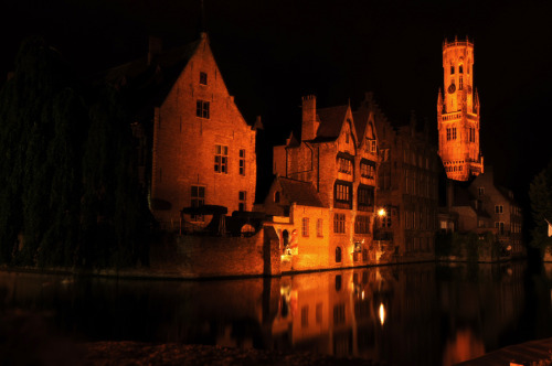 Night photography in Brugges, Belgium