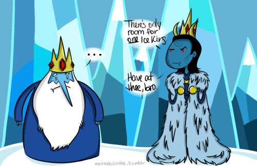 moiraabsinthe:  Jotun!Loki vs. Ice King After not being well received in Jotunheim, Loki decides to go to the Land of Ooo to rule the Ice Kingdom. I'm thinking of doing Thor the Asgardian next, but Idk if I should have his animal companion be his goats, Tanngrisnir and Tanngnjóstr, or if I should make one of the Warrior's Three [Volstagg, presumably] into a dog. [Click for full size/better quality.]