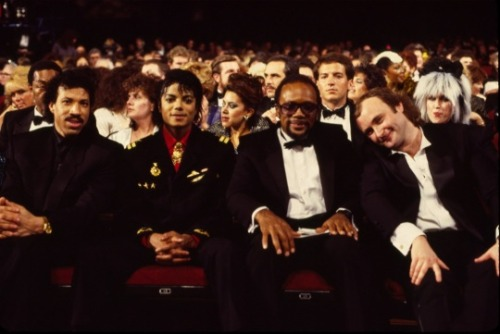 Lionel Richie, Michael Jackson, Quincy Jones, and Phil Collins at the 28th Annual GRAMMY Awards on Feb. 25, 1986  at the Shrine Auditorium in LA