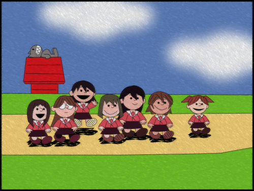 Azumanga Peanuts Something I love, drawn in the style of something else that I love.