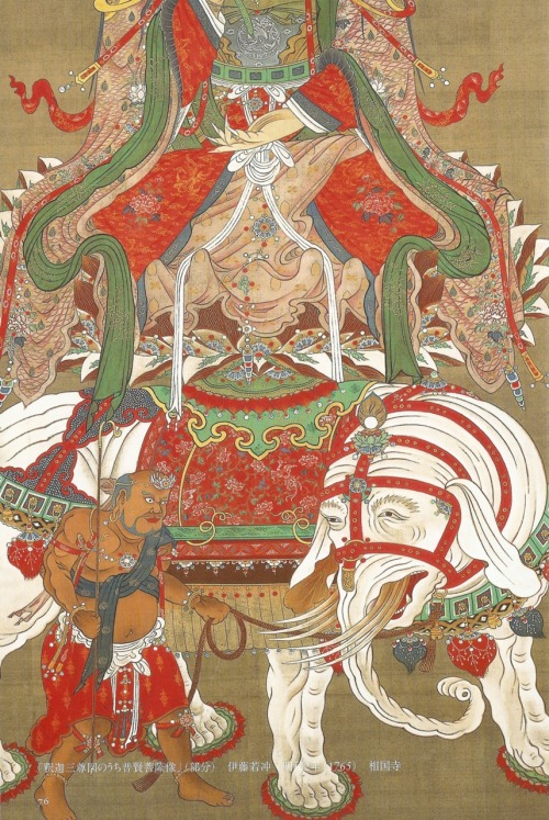 Buddha and two attendants (detail)  Ito Jakuchu, 1765, three hanging scrolls, ink an color on silk, 120.3x111.3cm each, Shokokuji   scan of mythical beasts of japan  and fuckin tumblr don't remove this description again! it's been now five times!I can write the full info for this one from memory now lol