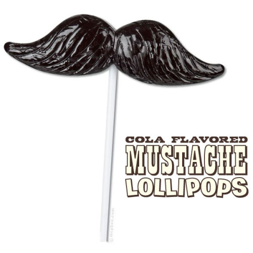 I want 2-3 of these for Christmas. stacheaddict:  Moustache Lollipop by Archie McPhee®