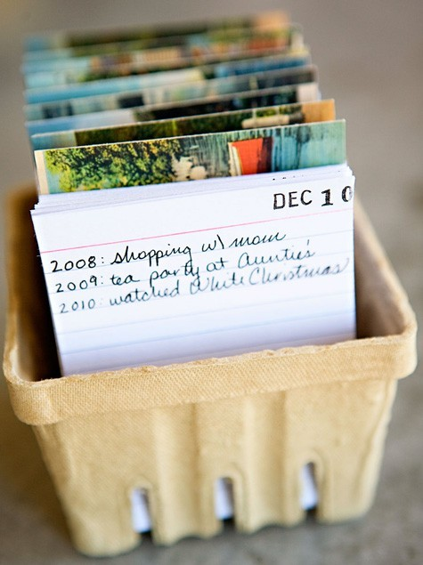 "This is such a cute idea. It's a daily calendar that can be reused each year and gets better the longer you use it. Each day you write the year and something that happened that day like, ""(Child's name) took her first steps."" I imagine the first year wouldn't be as fun, but imagine how neat it would be in 10 years. (designspongeonline.com)"