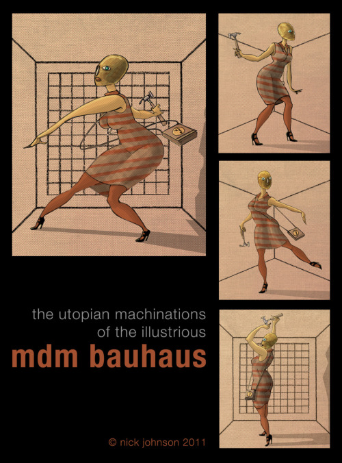 Mdm Bauhaus, Utopian soldier, designed for my upcoming graphic novel project, influenced by the bizarre theatre antics of Schlemmer and the Bauhaus performers.