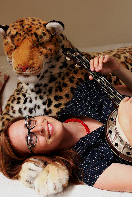 LauraVeirs2011AJR on Flickr.Lovely mug of the day: Miss Laura Veirs, with tiger and banjo.  Her new album Tumblebee out now!