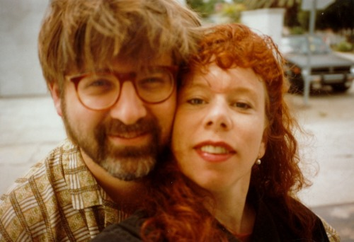 thenearsightedmonkey:  Cartoonists Matt Groening and Lynda Barry the 1980s. Photo by Lynda who is sticking her arm out. Her newest book,  Blabber, Blabber, Blabber, is dedicated to Matt. They met in the late 70s at The Evergreen State College, in Olympia, Washington.