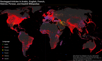 mapping Wikipedia globally (geotagged articles by language: English, Arabic, French, Hebrew and Swahili) via floatingsheep