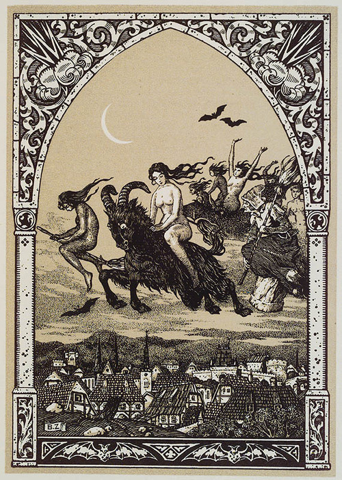 mirroir:  Witches flying to Sabbatby Bernard ZuberWoodblock print 1926  Featured in La Vie Execrable de Guillemette Babin, Sorciere