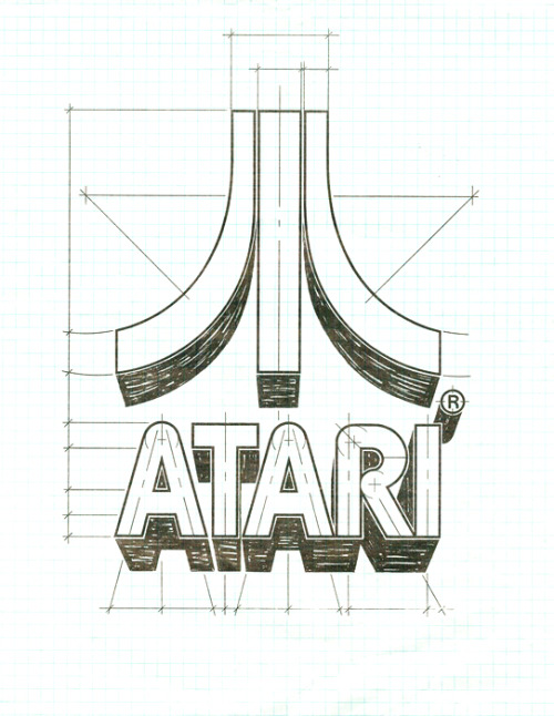 "Atari Symbol - by George Opperman George Opperman, Atari's first hired artist, created the ""fuji"" Atari symbol in 1972. ""George tells us that the corporate logo basically represents a stylized letter 'A' to stand for 'Atari.' He did have an added inspiration in designing the symbol, though. Back in 1972, Atari's claim to fame was 'Pong,' and George says the two side pieces of the Atari symbol represent two opposing video game players, with the center line of the 'Pong' court in the middle. (via Art of the Arcade)"