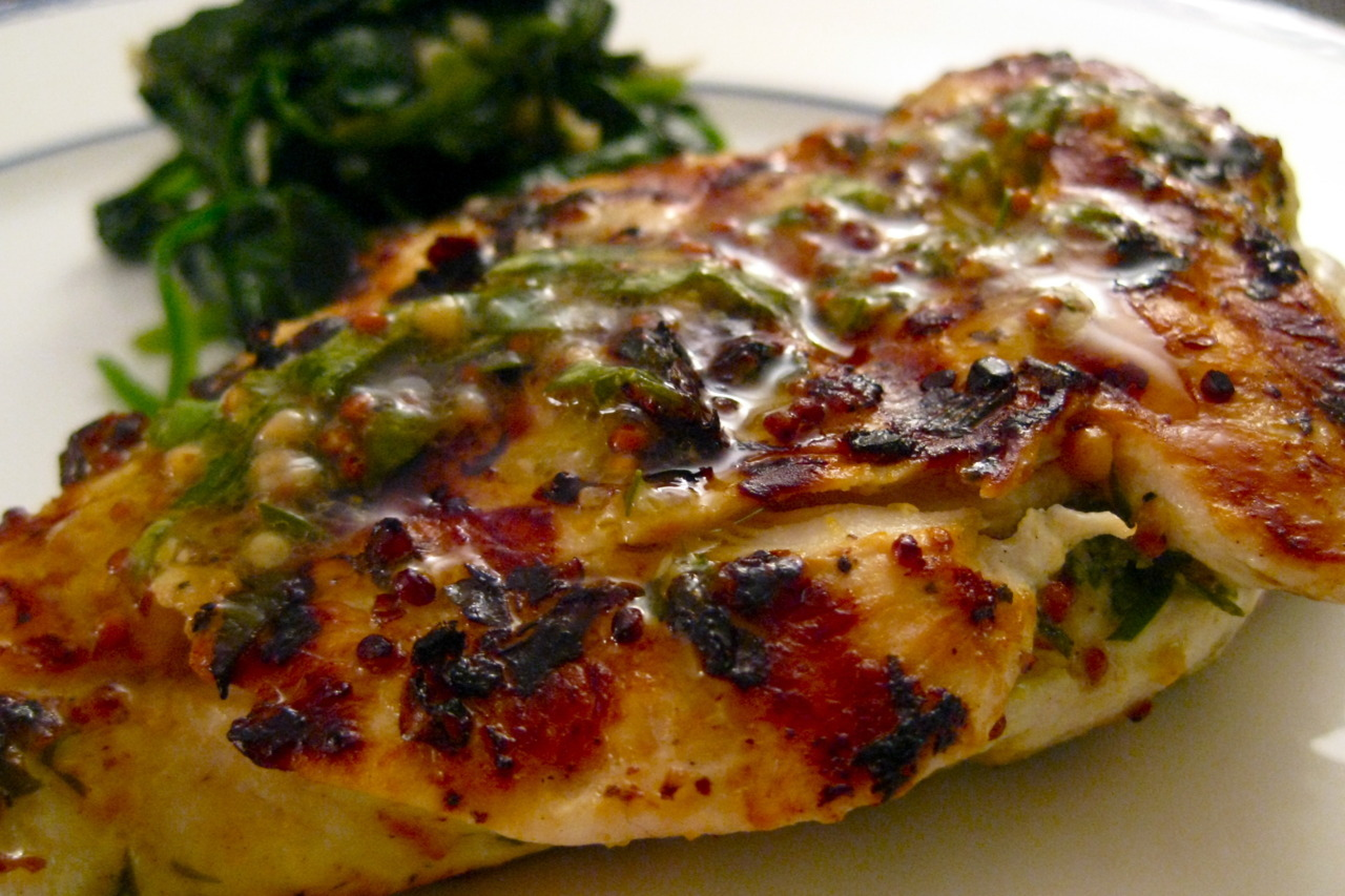 Dinner: Pollo al Mattone (or, chicken under a brick) w/ sauteed spinach. J had the day off, so he made dinner, and it was AMAZING. #nomnomnom