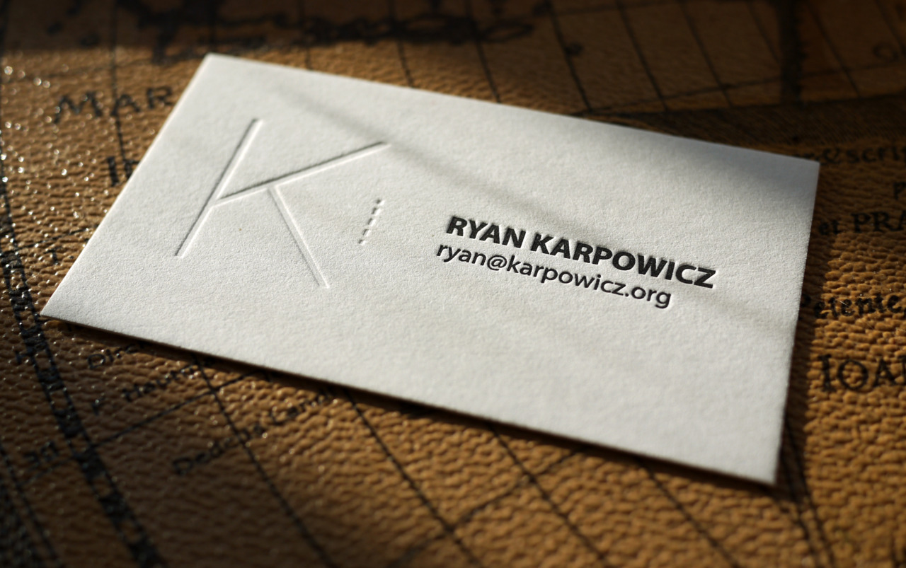 This is a handsome card I designed and printed for Ryan Karpowicz. He came to me wanting a simple card and loved the blind impression. I've printed many minimal cards, but I think this layout, as of now, remains my favorite.