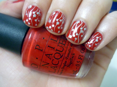 lovinmynails:OPI Comet Loves Cupid   BM20 with China Glaze Millenium
