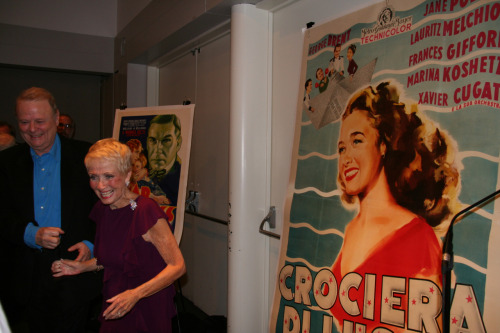 "82-year-old Jane Powell and her 19-year-old self, on a poster for 1948's Luxury Liner. Taken 11/15/2011 at the Film Society of Lincoln Center's ""An Evening w/ Jane Powell."""