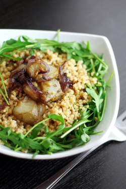 Jerusalem Artichokes, Red onions and Rocket with Giant Couscous by Salad Pride on Flickr.