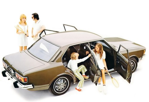 "1970-ish Toyota Corona  ""Jenkins! Get in here!"" Yes, boss? ""Jenkins, is this the hero shot for the new Corona?"" It's great, isn't it? We're trying out a new photographer. He suggested a studio shoot. ""The photo is fine. I like how the children are sat in the car. Makes it look bigger. But why are they all dressed in white?"" They're going to play tennis, boss. ""Tennis?"" Oh, yes. Tennis is very in. Very 1973. Or squash. Squash is very now. In fact, racquet sports are all tracking very high in our focus groups, sir. ""But is it the right image for the Corona, Jenkins? Those tennis players seem a bit wild. That McEnroe character especially."" Oh, that might be, sir, but people are looking for a bit of action and danger right now. ""And we're going to leverage off that desire for action and danger to sell the new Corona?"" That's what our target market are looking for, sir. Action, danger and glamour. ""What is our target market for the Corona, Jenkins?"" Professional men, aged 35-50, with families. ""Jenkins, I'm a professional man aged 35-50 with a family and what I want is a good stiff drink and time to read the paper."" Well… it's more of a general trend, sir. ""I'll tell you what it is, Jenkins. It's the beginning of the end.""  /via Autorama 70"