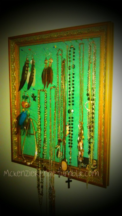 Get Crafty: Vintage Jewelry Frame If you've been following my blog for a while, then you already know I LOOOOOVE accessories! Especially jewelry ::sigh:: I love displaying my jewelry all around my room and bathroom in pretty bowls, hanging from delicate hooks, and placed strategically on my wall in a vintage gold frame :) This one is my fav! It's easy to do: Take your favorite frame (or use an old one & paint it) and replace the backing with a thin layer of foam, topped with a velvet fabric in your favorite pop of color. Take long silver dissecting pins and push them into the backing to hang your jewelry from. This jewelry holder is meant for lightweight jewelry, because anything else too chunky or heavy will most likely fall from your frame. Showcase your dainty pieces and voila! Get creative and have fun with it!