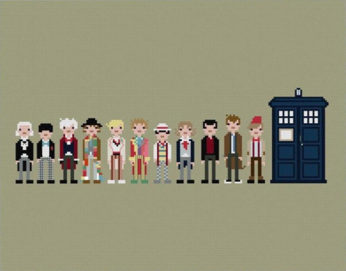 The Eleven Doctors - by weelittlestiches Pixel People cross-stitch pattern available for $12 USD at Etsy.