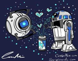 ianbrooks:  Wheatley and R2 Robo Love by Carolyn Main Robot love in space, truly electrifying. Blissfull beeps. (via: Comics Alliance)
