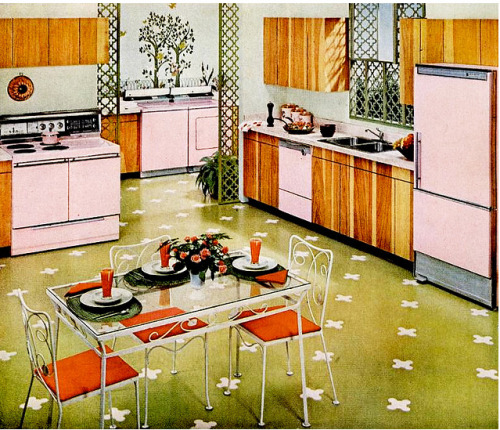 Vintage kitchen with pink Frigidaire appliances