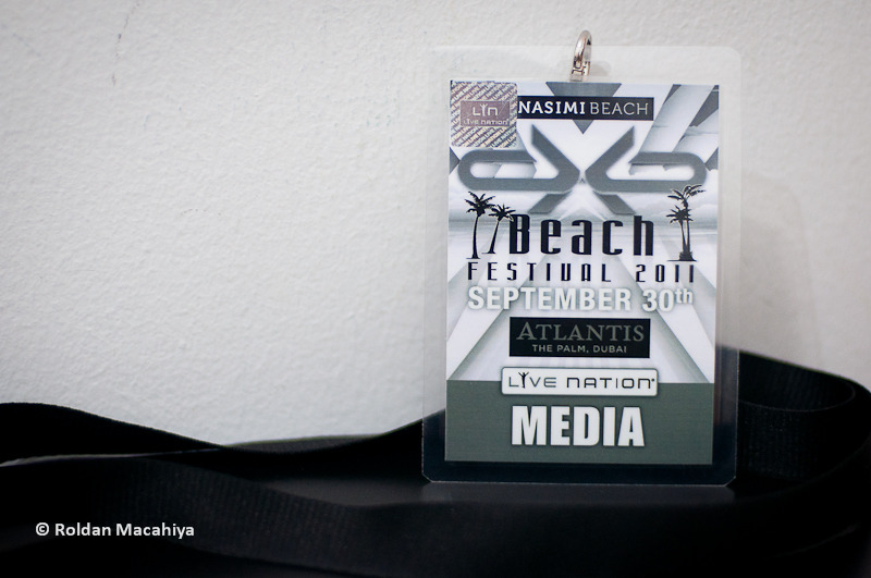 Photo Pass for dXb Beach Festival 2011. For the photos of the headliners, please visit roldanmacahiya.wordpress.com! Please add us up at new facebook fan page Roldan Macahiya Music Photos! Thanks!