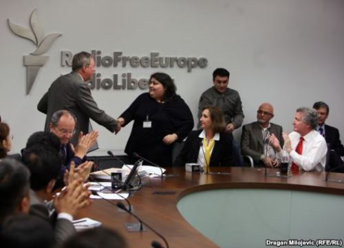 Caption: RFE/RL News Director Jay Tolson congratulates Khadija Ismayilova of RFE/RL's Azeri Service on her award for one of the five best stories of 2011. Ismayilova's story on public corruption in Azerbaijan led to changes in government policy. Whether it was uncovering state cronyism in Azerbaijan, documenting systematic rape in Kyrgyzstan, remembering genocide in the Balkans, live-tweeting from a charged courtroom in Russia, or broadcasting the desperate story of Georgian sailors, RFE/RL's journalists profoundly affected the world of their listeners in 2011…[READ MORE]