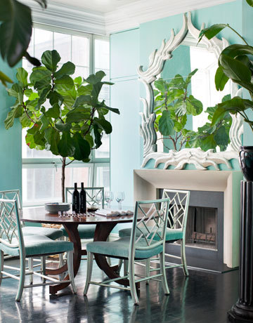 A turquoise dining room with white accents and deep gray flooring looks so fresh and breezy. Carefully placed greenery adds to the slightly tropical look. (via The Decorista-Domestic Bliss: Harpers Bazaar: VERONICA SWANSON BEARD's COLORFUL DOMESTIC BLISS)