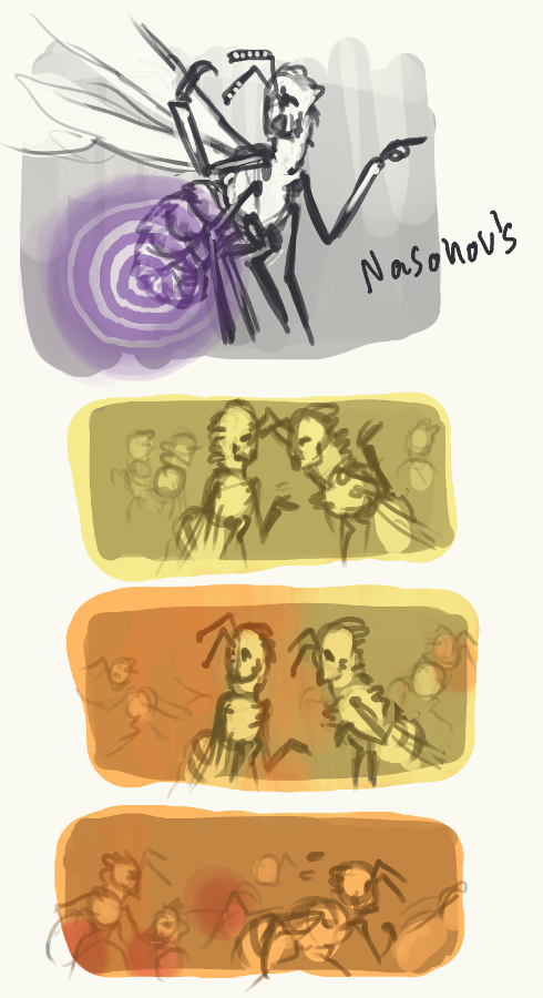 Really quickly drawn further explorations of depicting pheromones visually. The top one is Nasonov's pheromone, a pheromone bees use to orient each other. When bees settle down into a new hive, the first ones to get there release this pheromone which helps to draw the rest to the right place more quickly. The other three were an attempt to depict the transition from queen substance being the dominant scent (so just a normal day in the hive) to mandibular alarm (under attack!) to mandibular alarm and spots of sting alarm (we're attacking you!) - because I was personally curious if it'd work visually.