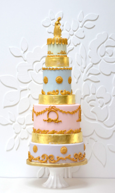 "A sneaky preview of one of the cakes I supplied for a very glamorous photoshoot for a national Style Magazine. I came up with these two new designs. The ""Marie Antoinette"" cake has 24carat edible gold leaf on it! My cakes will be displayed alongside Laduree pastries and macarons, wow! I'll post the finished photos when they are published, but look out for it in the next few weeks."