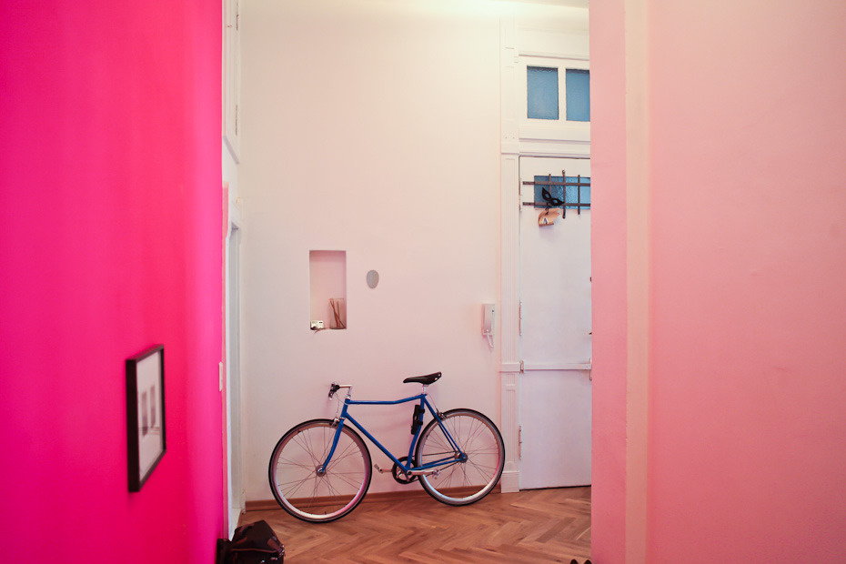 I think I'm going to figure out how to embrace my hot pink bedroom walls before I think about repainting