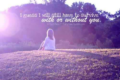 I guess I will still have to survive with or without you.