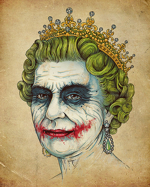 justinrampage:  The Joker and the Queen represent one entity in Enkel Dika's mash up shirt design. Reprints are now on sale again over at Threadless. Related Rampages: Late Night Barbarian (More) God Save the Villain by Enkel Dika / buko (Flickr)