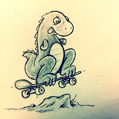 Wanting to make a children's book about a skateboarding dinosaur. (Taken with instagram)
