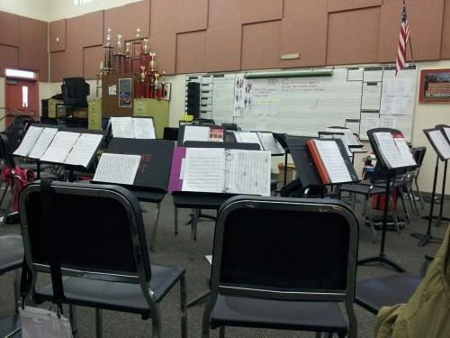Chillin in the band room alone.