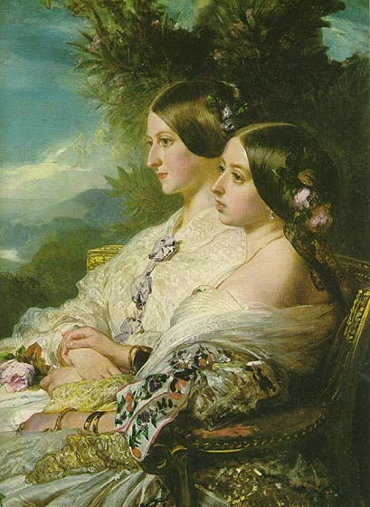 Queen Victoria with her favourite cousin, Princess Victoire of Saxe Coburg Gotha, Duchesse de Nemours in 1852.