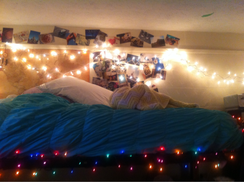 Our dorm :) My roommate and I worked so hard to put these lights up! submitted by (faithtrustandpixieedust)