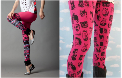 Wishlist Wednesday! Which would you rather have? These Pink Tribe leggings from QooQoo Fashion or these Pink Kitty Leggings from Joseph Aaron Segal? Both pretty damn pink! Tell us in our ask box! - PopThreads