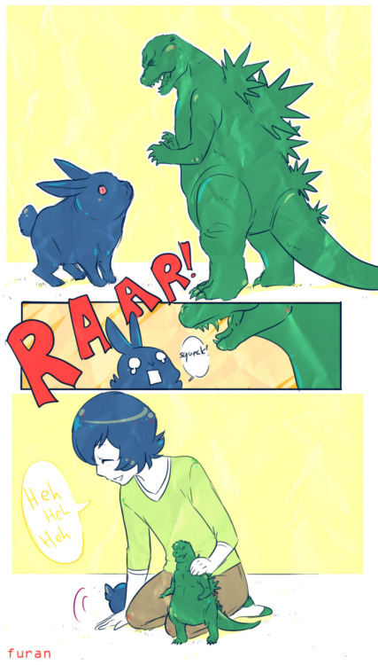 frantabulosa:  And here's Kikyou trolling his bunny with his gojira figure~ xDDD Troll kikyou is a troll! BI  Adventures of baby kikyou and his pet bunny kiki~!