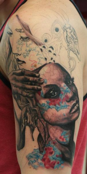 fuckyeahtattoos:  Outer part of my half sleeve. Many more hours to go! twitter @_mourning_view