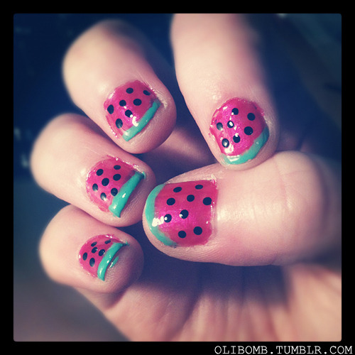 Watermelon nails! They arn't perfect but I love em!