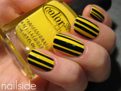 Yellow & black stripes (Color Club Almost Famous & China Glaze Ink)