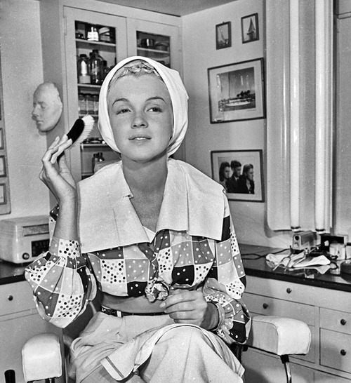 Marilyn at make up table