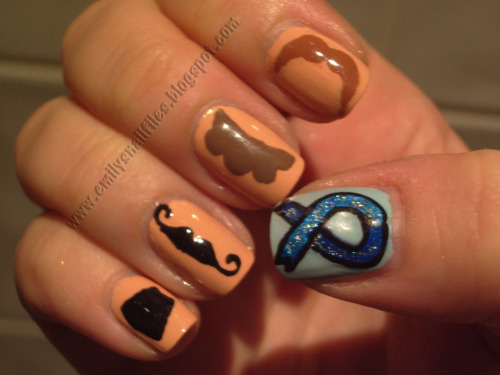 Movember Nails - just hold to your upper lip for hilariousness. www.emilysnailfiles.blogspot.com