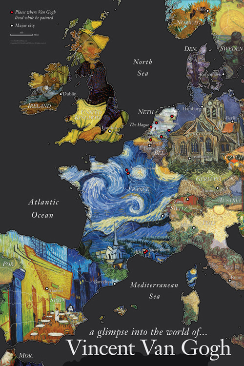 Vincent Van Gogh Wall Map by David Frank McCarter. Countries are represented with paintings by Van Gogh. The red dots show the places where Van Gogh lived while he painted.