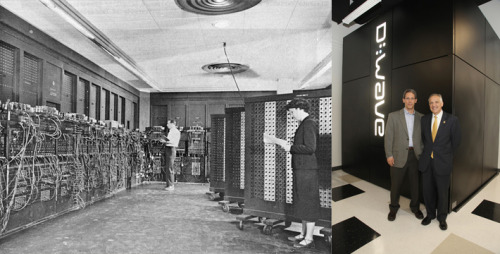 "Left: { ENIAC }, considered the world's first computer. Right: Prof. Daniel Lidar & Dean Yortsos, with USC's new { Quantum Computer }. USC acquires ""the world's first commercial, operational quantum computer from D-WAVE"":  October 29, 2011 —D-WAVE President Vern Brownell, Viterbi Dean Yannis C. Yortsos,Lockheed-Martin CTO Ray Johnson and ISI Executive DirectorHerb Schorr.Continuing on its history of pioneering advances in high-performance computing and the internet, USC is now exploring the future of quantum computing.USC's new quantum computing center, located at its Information Science Institute campus in Marina del Rey, now houses D-Wave's revolutionary quantum computer, which was recently purchased by Lockheed Martin. USC and Lockheed Martin will work together in the just formed USC- Lockheed Martin Quantum Computing Center to explore the potential of the cutting-edge quantum computing technology.  via { USC } Viterbi, School of Engineering. •••••• I laughed, seeing that D-Wave photo. Reminds me of the { first, room-sized computers }… I wonder if/how/when we'll be able to bring quantum computing home, & down in size? And there's that thing about keeping it at near-0° Kelvin…"