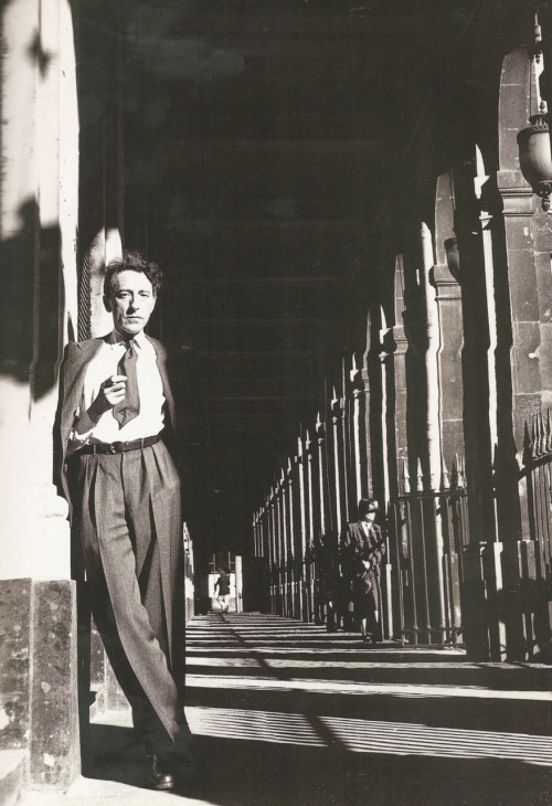 "© Lee Miller, Sep. 1944, Jean Cocteau at Palais Royal, Paris ""Be yourself. The world worships the original."" (Jean Cocteau)"