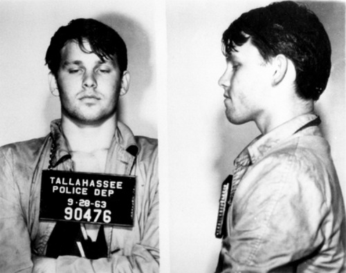 Jim Morrison arrested in Tallahassee after a drunken prank at a football game, circa 1963