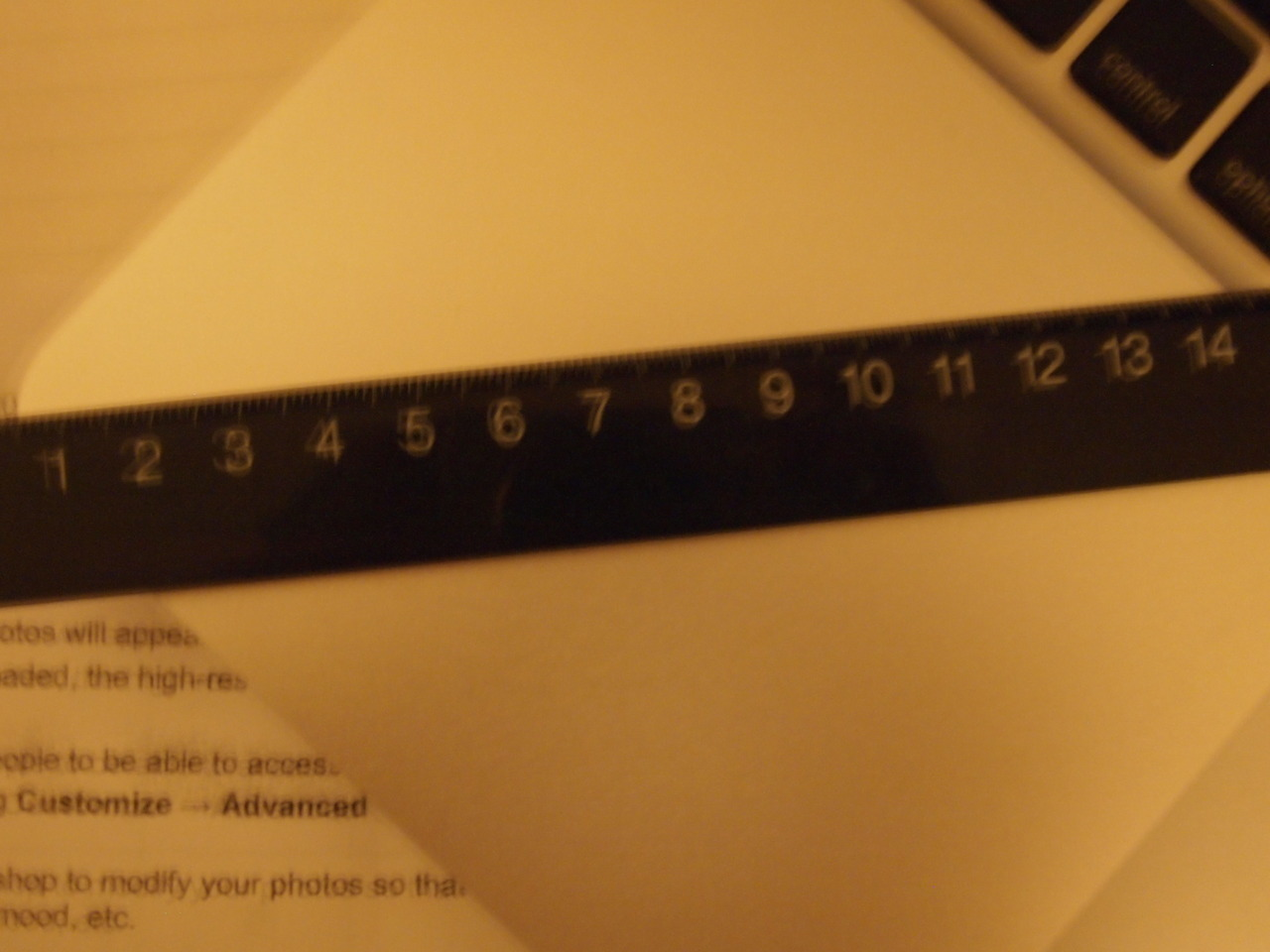 blurry Composition: I took a picture of a ruler, because you will know this photo is blurred by looking at the numbers on it. I used large aperture for this photo, in order to make things blurry. Everything in this photo is blurred, like the ruler, the words on the paper and also the keyboard. Contrast: The ruler is the point of interest. I chose a black ruler to emphasis it. This photo only has two colour, which are black and white. A light tone in the background can highlight where the focal point is and would not blend them together. Communication: The picture communicates a frustration mood. Since the contrast is not as strong as the other ones, and they are a bit vague, so the blurriness will give you a frustrated mood.